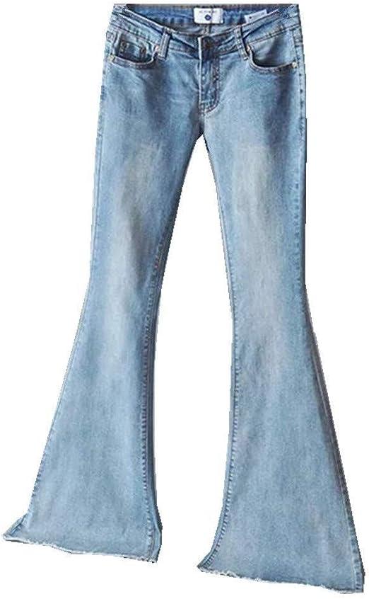 HX fashion レディースジーンズミッドウエストスリムフィットデニムパンツバギーパンツフレアパンツファッション2019婦人服