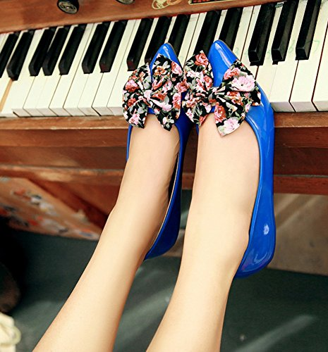 Aisun Womens Jolie Fleur Bowknot Slip Sur Les Chaussures Chaussures Bleu