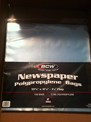Bcw Newspaper Bags 13 3 8 X 11 7 8 100 Pack