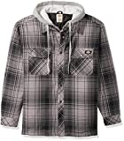 Dickies Men's Relaxed Fit Hooded Yarn Dye Plaid Shirt Jacket, Black/Smoke, Large