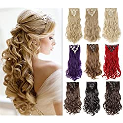 "8PCS Clip in Hair Extensions Highlight 23-26'' Straight 17-24 inches Wavy Curly Full Head 18Clips Women Colorful Hairpiece Black Brown Blonde Purple Ombre (17""-Curly, Bleach Blonde #613C)"