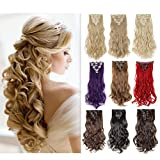 dark red hair highlights - 8PCS Clip in Hair Extensions Straight Wavy Curly Full Head Women Colorful Highlight Ombre Hairpiece -24
