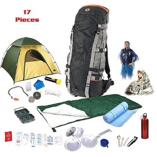 WayToStore Camp Package Stansport Adjustable, Internal-Frame Backpack,Tent with Fly,Sleeping Bag