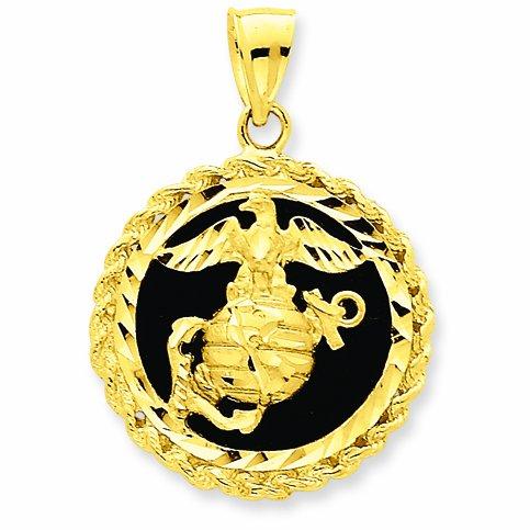 "10 ct 471/1000 Or ""US Marine Corps"" auf Noir Onyx Pendentif"