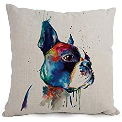 Cotton Linen Cartoon Lovely Animal Abstract Oil Painting Adorable Pet Dogs Boston Terrier Throw Pillow Covers Cushion Cover Decorative Sofa Bedroom Living Room Square 18 Inches