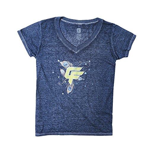 WWE Charlotte Flair Acid Wash Women's T-Shirt Light Blue XL by WWE Authentic Wear
