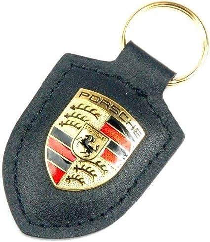 Negro WAP0500900E Original Porsche Crest Llavero de Cuero