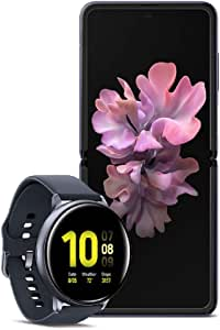 Samsung Galaxy Z Flip Factory Unlocked Cell Phone, 256GB of Storage/Mirror Purple with Watch Active2, Sleep, Workout Tracking and Pace Coaching (44mm, GPS, Bluetooth), Aqua Black