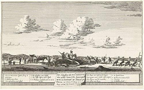 """Classic Art Poster - Slaughter of the sperm whale stranded between Zandvoort and Wijk aan Zee, 1762, John Swertner, 1762 11"""" x 17"""""""