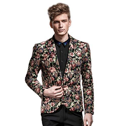 [해외]판주안 남성 플로럴 패션 블레이저 슬림 핏 캐주얼 / FANZHUAN Mens Floral Fashion Blazer Slim Fit Casual