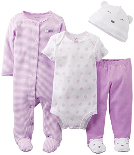 Carter's Baby Girls' 4 Piece Layette Set (Baby) - Lavender - Lavendar - 6 - Apparel Lavendar
