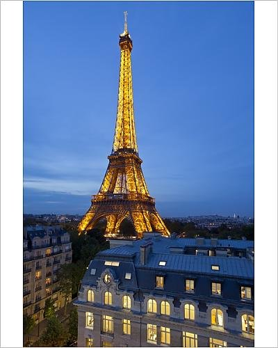 Photographic Print of Eiffel Tower, viewed over rooftops, Paris, France, Europe