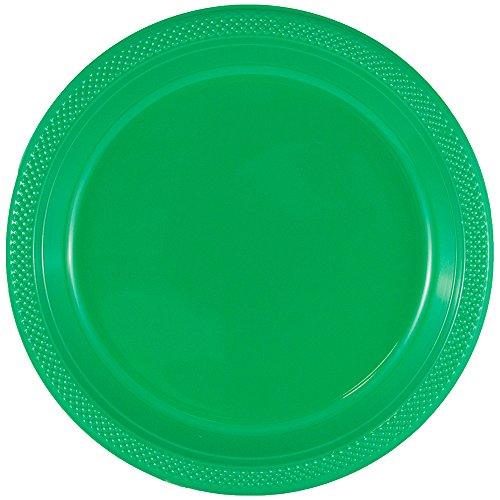 JAM PAPER Round Plastic Party Plates - Small - 7 inch - Green - 20/Pack