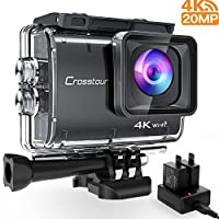 Crosstour Action Camera Real 4K 20MP WiFi Underwater Cam 40M with EIS Anti-Shake Time-Lapse Recording Plus 2 Rechargeable 1350mAh Batteries and USB Charger and Accessories Sets