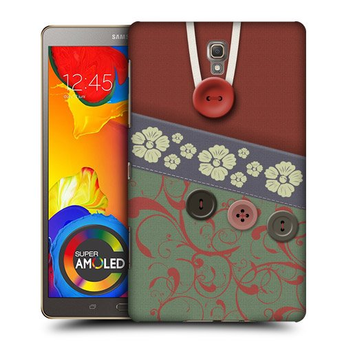Head Case Designs Green Floral Swirls Button Purse Protective Snap-on Hard Back Case Cover for Samsung Galaxy Tab S 8.4 LTE T705 WIFI T700