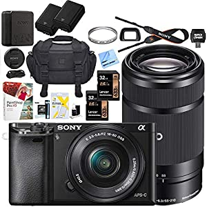 Sony Alpha a6000 Mirrorless Digital Camera with 16-50mm Lens Bundle with 55-210mm Zoom E-Mount Lens, 32GB Memory Card…