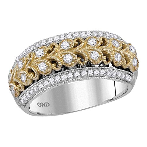 14kt Two-tone White Gold Womens Round Diamond Filigree Band Ring 3/8 Cttw ()