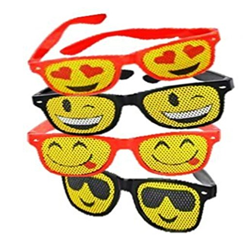 Emoji Mesh Sunglasses - 6 Pack Emoticon Lens Sun Glasses - Fun for Party Favors, Great for Prizes - Play Kreative - Sunglasses Emoticon