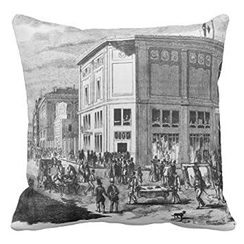 drouot oreiller Façade de l'hôtel Drouot Paris C 1852 Engravi Couvre lit Taie d  drouot oreiller