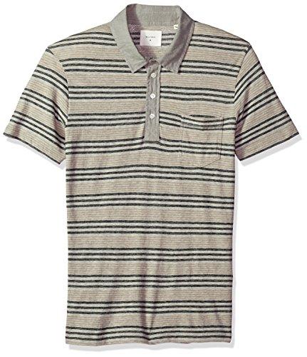 Cashmere Polo - Billy Reid Men's Short Sleeve Linen Collar Cashmere Polo with Pocket, Light Grey Stripe, XL