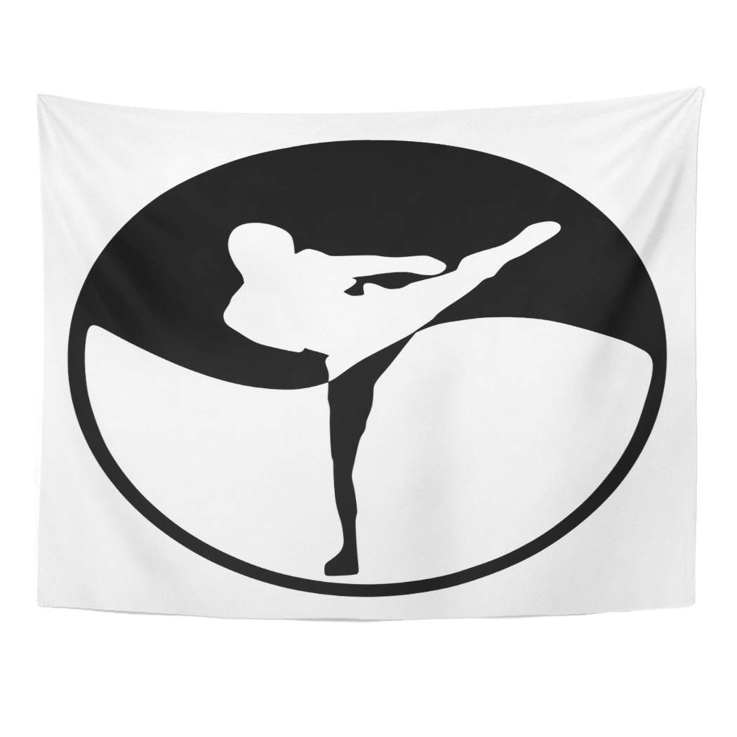 Emvency Tapestry Wall Hanging Taekwondo High Kick Martial Karate Yin Yang Chi Kickboxing Self Defense 60''x 80'' Home Decor Art Tapestries for Bedroom Living Room Dorm Apartment by Emvency