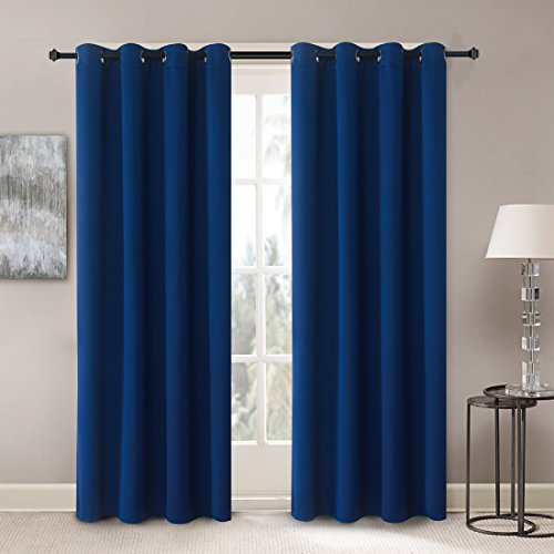 Solid Thermal Insulated Blackout Window Curtains / Draperies / Panels for Bedroom/ Living Room/Sliding glass doors Top Fation Grommet by Alice Brown (2 Panel,W52 x L84 –Inch,Navy Blue)