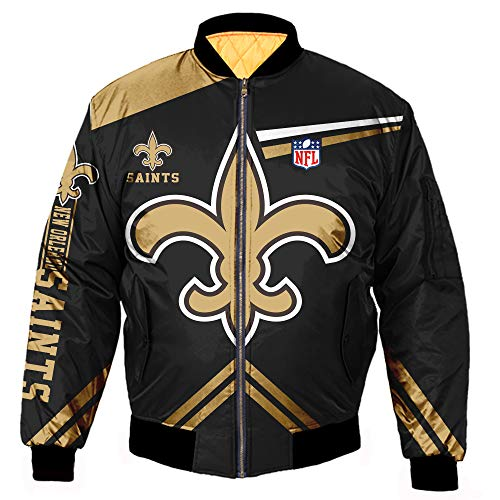 K3K Sports Men's Big Size Football Classic Jacket Autumn Winter Outdoor Long Sleeve Full Zipper Jacket Coat (Small, New Orleans Saints/)
