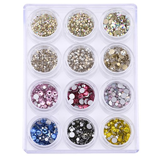 Loose Round Flatback Glass Crystal Rhinestones Set For Glitter Nails Art Decorations Mix Size 9 Colors 3842~4408 Pieces by TEEKME