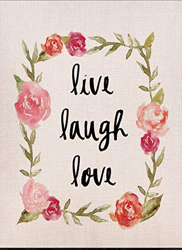 Dyrenson Home Decorative Outdoor Garden Flag Live Laugh Love Valentine's Day Holiday Rose Flowers Quotes, Garden Flag Floral Burlap Winter, Garden Yard Decorations, Watercolor Outdoor Flag 12 x 18