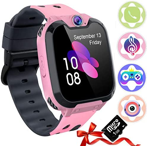 Auburet Children Good Watches [SD Card Included ],Children Cellphone with Video games Music Digital camera, Full Contact Boys & Ladies Good Watch with Calling SOS 7 Video games and Music Participant for Birthday Wrist Watch 3-12y