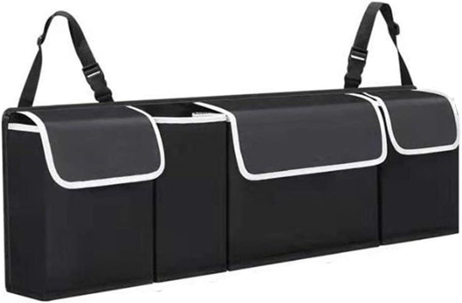 MathRose Auto Trunk Organizer Foldable Car Storage Organizer Portable Collapsible Vehicle Organizer Divider Storage Totes Car Storage Bag Black