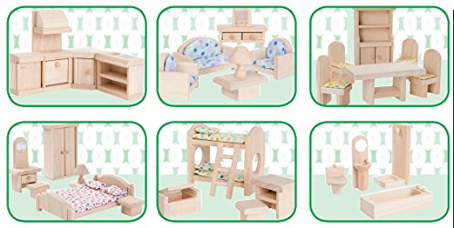 Beckeru0027s School Supplies Classic Doll House Furniture Collection, (Set Of  51 Pieces)