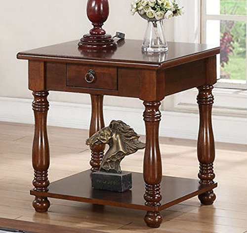 Poundex PDEX-F6328 End Table in Brown Wood Finish, Multi