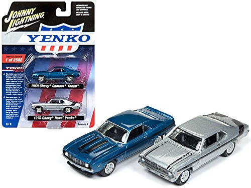 "1969 Chevy Camaro and 1970 Chevy Nova ""Yenko"" Set of 2 Limited Edition to 2502 pieces Worldwide 1/64 Diecast Model Cars by Johnny Lightning JLPK002-YENKO"