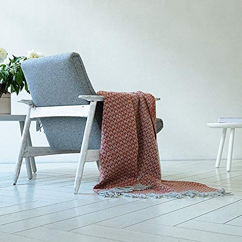 LinenMe WoolMe Wool Throw Terra Cotta Tito, 130 x 200cm, Made in Europe, with Fringes