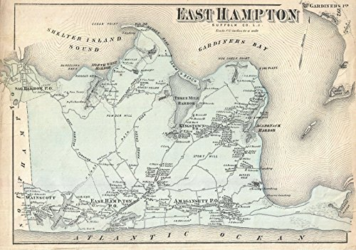 Historic Map - Beers Map of East Hampton, Long Island, New York, 1873 - Historical Antique Vintage Decor Poster Wall Art - 16in x 24in