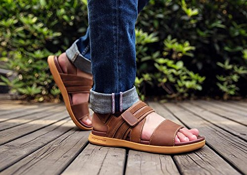 Happyshop(TM) Mens Cow Leather Sandals Magic Tape Open Toe Platform Ventilate Male Sandals Brown nBTK0RcppN