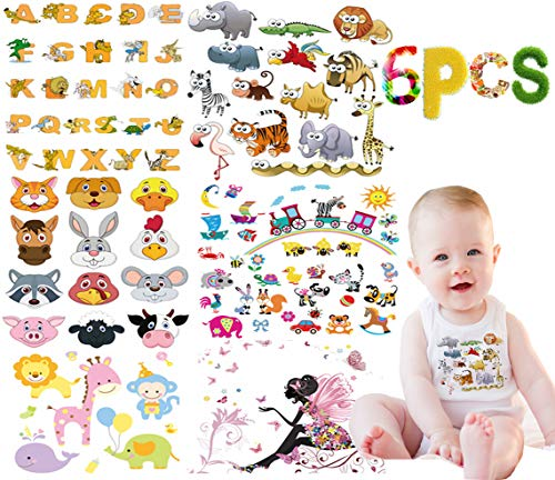 (Baby Iron on Patches Animals Letters Transfers 6 Sheets Kids Clothes Pattern Paper-Transfer Patch Boy Girl Clothes T-Shirt, Dress, Shirt(86 Patterns))