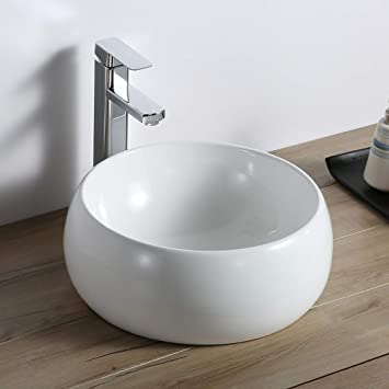 Ruvati 12 Inch Bathroom Vessel Sink Round White Circular Above Counter Porcelain Ceramic Rvb0312