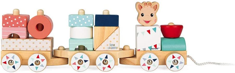 Janod Sophie La Girafe Collection - 17 pc Pull Along Sorting & Stacking Wooden Train Toy - Improves Visual Memory & Shape Recognition Skills - Interactive Cognitive Development - 18 Months +