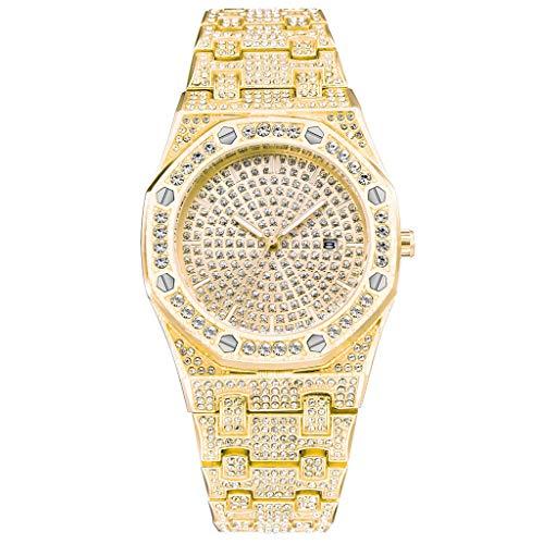 LXMJ Watch Men's Watch Fashion Diamond Date Quartz Watch Stainless Steel Alloy Strap Father's Day/Birthday/Wedding Best Men's Gifts Gold
