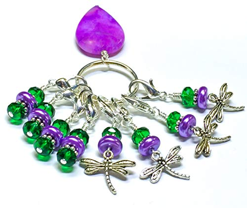 Dragonfly Clip On Stitch Marker Jewelry Set