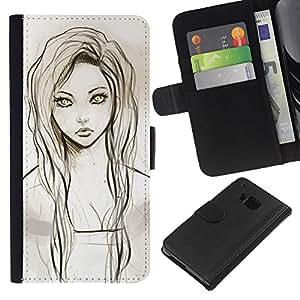 Planetar® Modelo colorido cuero carpeta tirón caso cubierta piel Holster Funda protección Para HTC One M7 ( Girl Portrait Green Eyes Pencil Drawing )