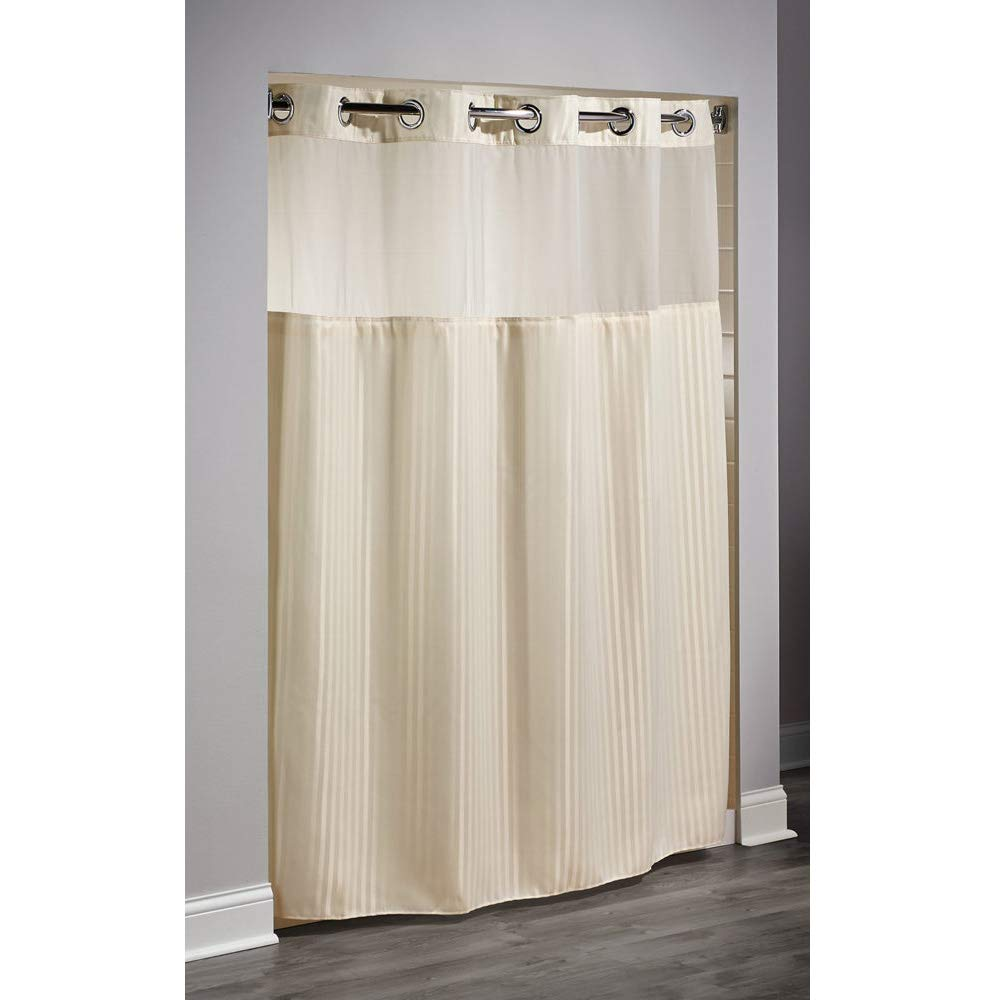 71'' x 74'' - Beige - Double H - Heavy - Hotel Quality - Hookless Shower Curtain w/Liner