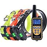 HISEASUN Remote Dog Training Collar for 3 dogs, Rechargeable with Beep, Vibration and Shock Electronic Collar, 2625ft Range (for three dogs)