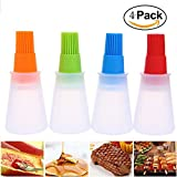 BBQ Basting Brushes, Silicone Grill Barbecue Baking Pastry Oil Honey Wine Sauce Bottle Brush with Dispenser, Set of 4