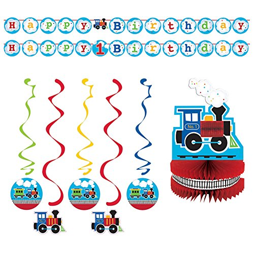 All Aboard Party Pack: Shaped Ribbon Banner, Dizzy Danglers, and Honeycomb Centerpiece