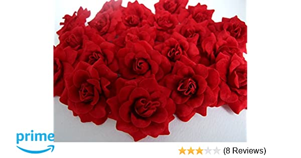 156446faf6 (50) Silk Dark Red Roses Flower Head - 1.75
