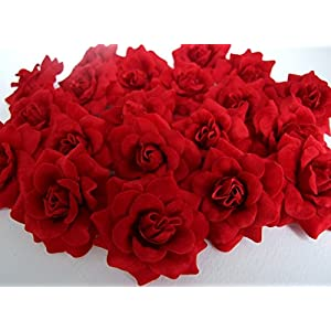 """(100) Silk Dark Red Roses Flower Head - 1.75"""" - Artificial Flowers Heads Fabric Floral Supplies Wholesale Lot for Wedding Flowers Accessories Make Bridal Hair Clips Headbands Dress 52"""