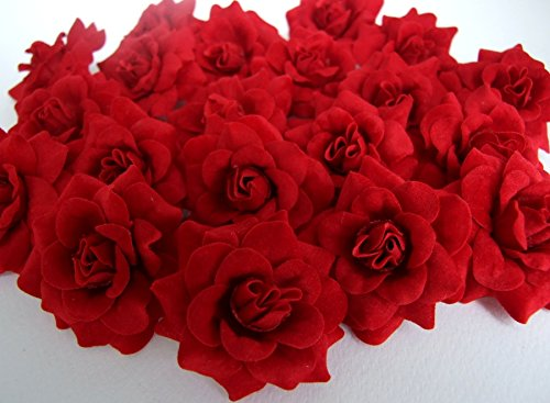 (50) Silk Dark Red Roses Flower Head - 1.75 - Artificial Flowers Heads Fabric Floral Supplies Wholesale Lot for Wedding Flowers Accessories Make Bridal Hair Clips Headbands Dress